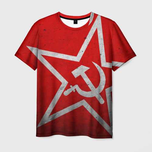 Мужская футболка 3D Флаг СССР: Серп и Молот