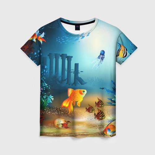 Женская футболка 3D Золотая рыбка