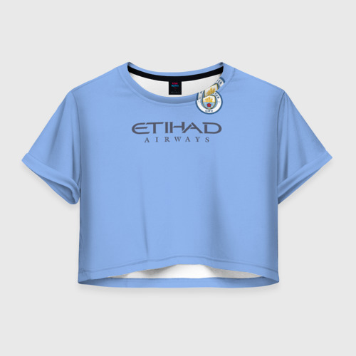 Женская футболка Crop-top 3D Манчестер сити форма