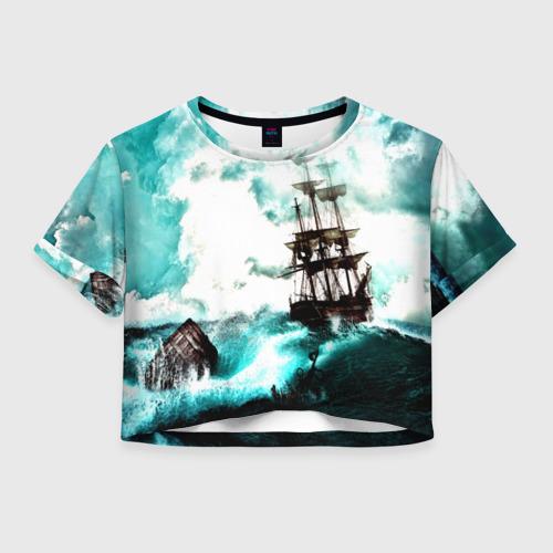 Женская футболка Crop-top 3D Ship
