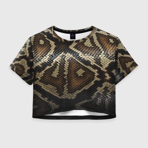 Женская футболка Crop-top 3D Кожа змеи
