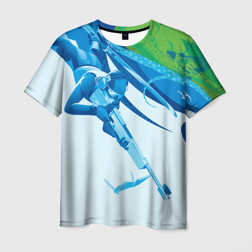 Мужская футболка 3D Биатлон Зимний вид спорта