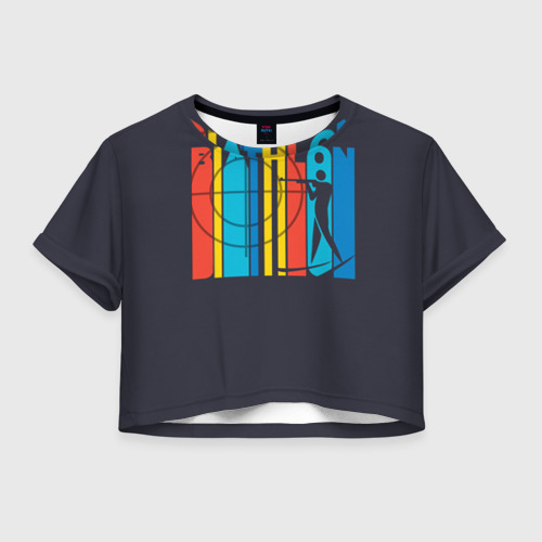 Женская футболка Crop-top 3D Радужный спорт