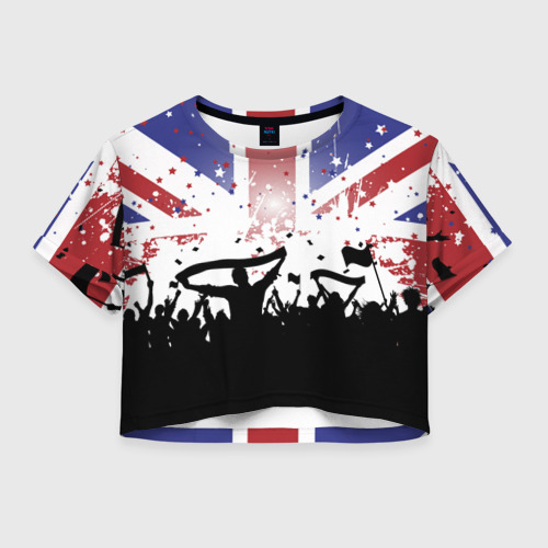 Женская футболка Crop-top 3D Английские фанаты