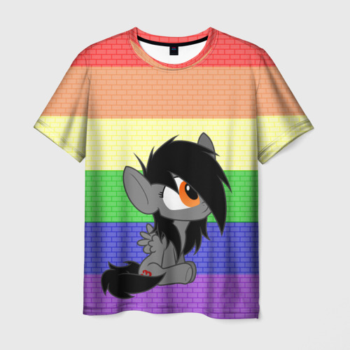Мужская футболка 3D Литл Пони радуга
