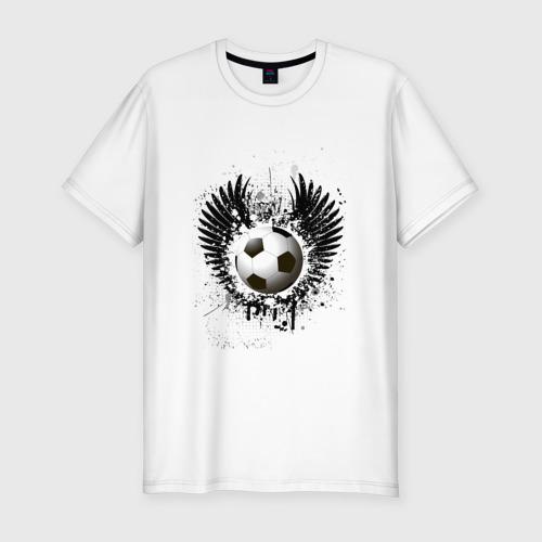 Мужская футболка хлопок Slim Футбольный мяч с крыльями
