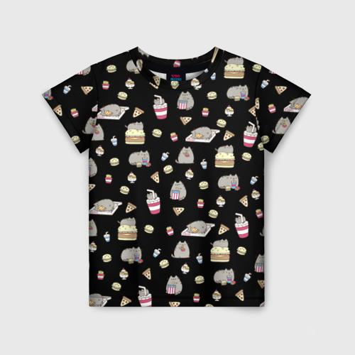 Детская футболка 3D Котики с едой