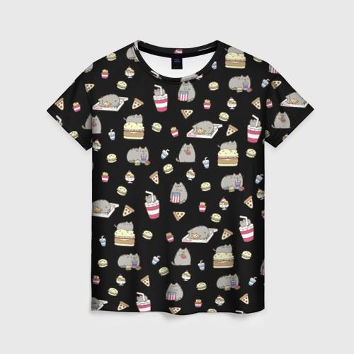 Женская футболка 3D Котики с едой