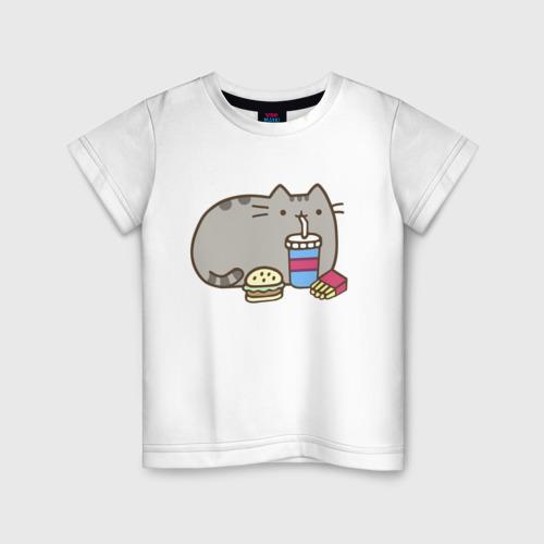 Детская футболка хлопок Котик с бургером и фри