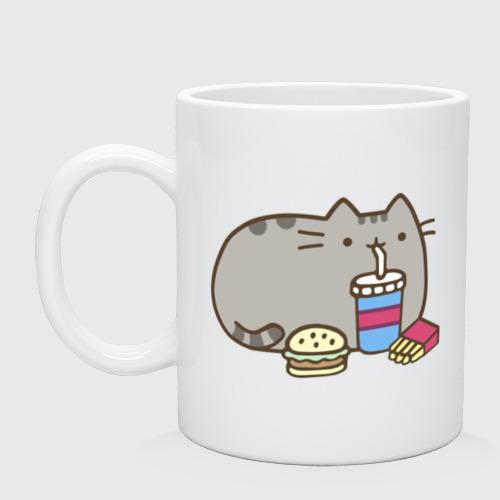Кружка керамическая Котик с бургером и фри