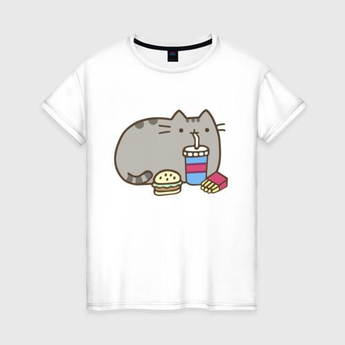 Женская футболка хлопок Котик с бургером и фри