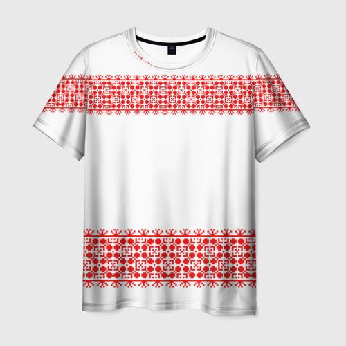 Мужская футболка 3D Славянский орнамент (на белом)
