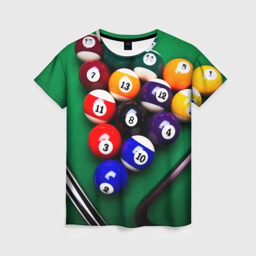 Женская футболка 3D Бильярд