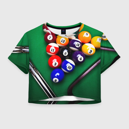 Женская футболка Crop-top 3D Бильярд