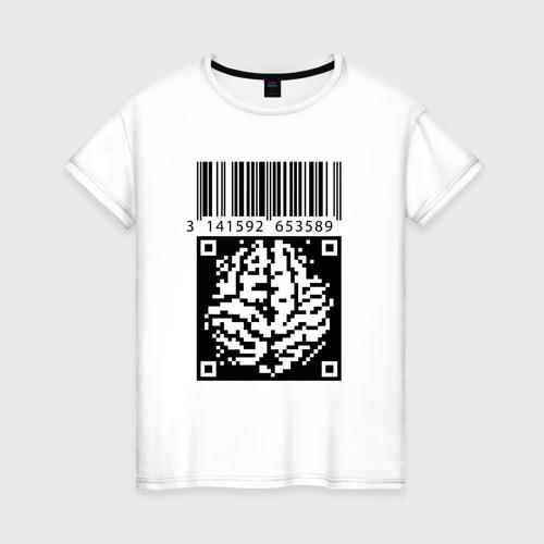 Женская футболка хлопок QR brain code