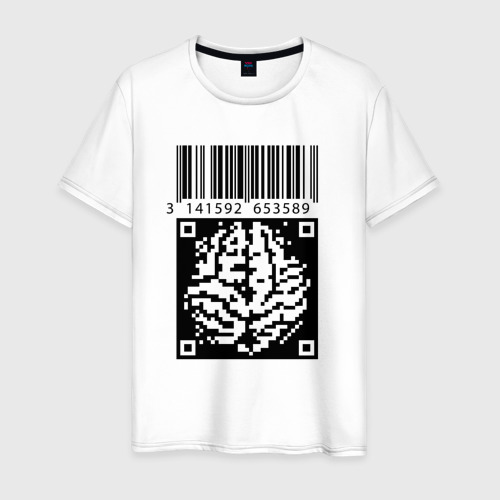 Мужская футболка хлопок QR brain code