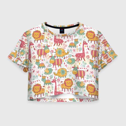Женская футболка Crop-top 3D Детские рисунки