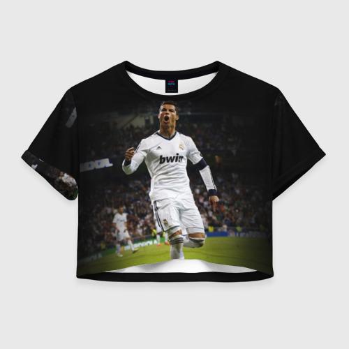 Женская футболка Crop-top 3D Роналдо