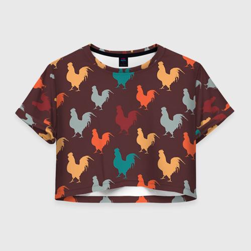 Женская футболка Crop-top 3D Петух. Символ 2017 года 4