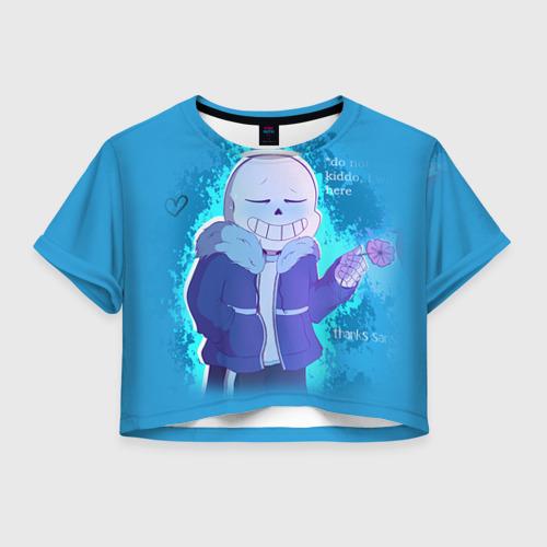 Женская футболка Crop-top 3D winter Sans