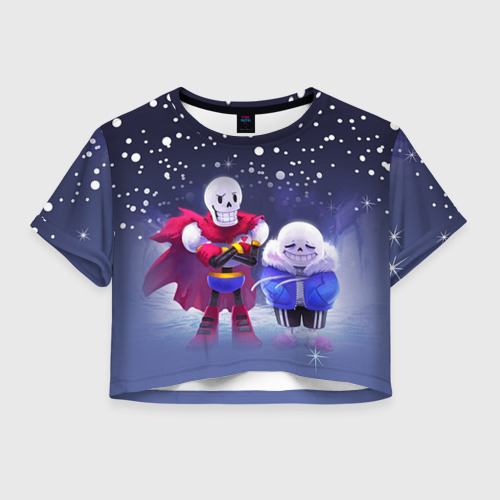 Женская футболка Crop-top 3D Sans & Papyrus
