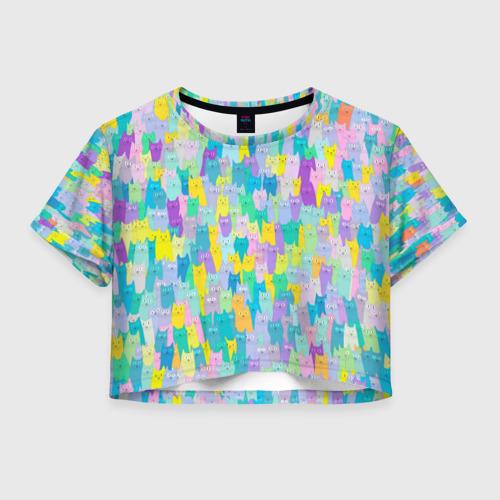 Женская футболка Crop-top 3D Пастельные коты