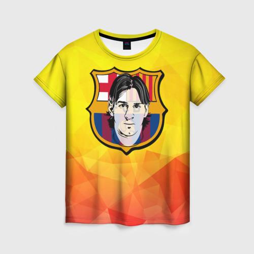 Женская футболка 3D Месси - Барселона