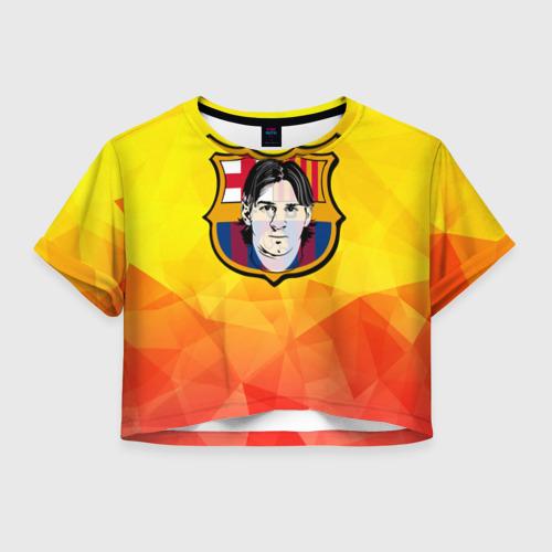 Женская футболка Crop-top 3D Месси - Барселона
