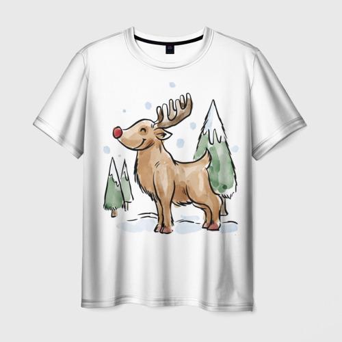 Мужская футболка 3D Оленёнок Рудольф