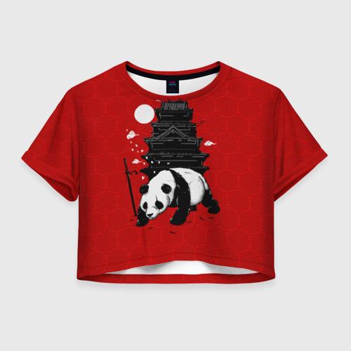 Женская футболка Crop-top 3D Panda Warrior