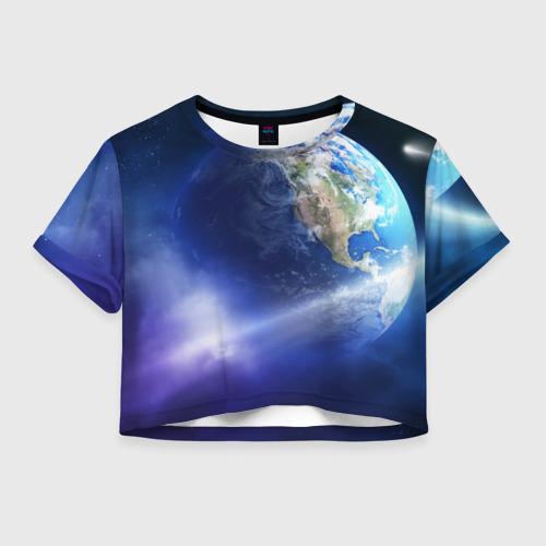 Женская футболка Crop-top 3D Космос