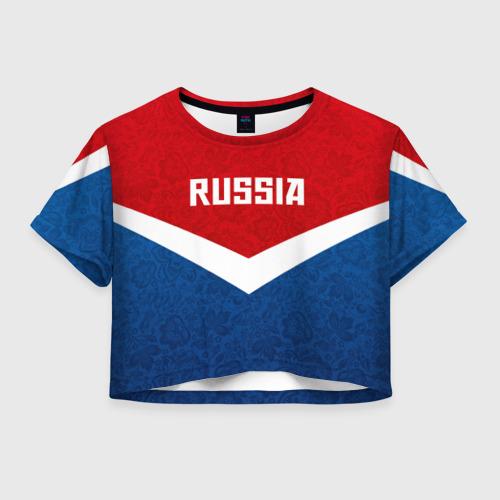 Женская футболка Crop-top 3D Russia Team