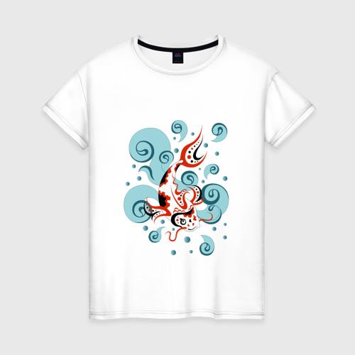 Женская футболка хлопок Карп Кои