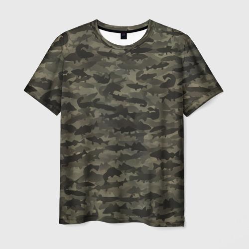 Мужская футболка 3D Камуфляж рыбака