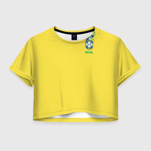 Женская футболка Crop-top 3D Сборная Бразилии