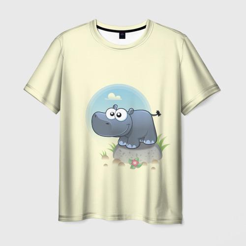 Мужская футболка 3D Бегемотик