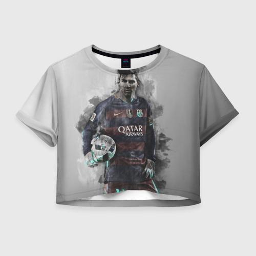 Женская футболка Crop-top 3D Lionel Messi
