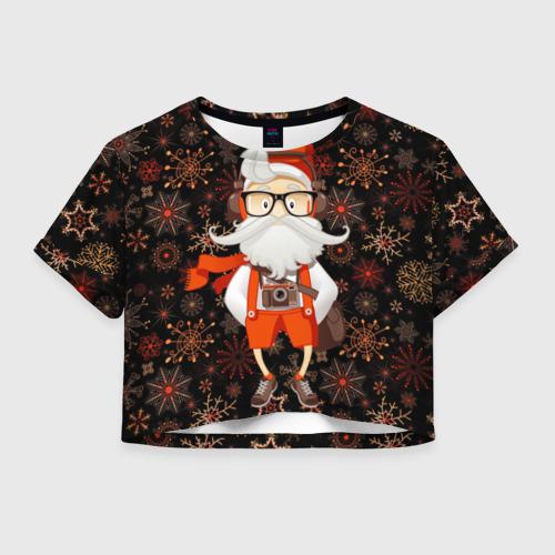 Женская футболка Crop-top 3D Санта хипстер