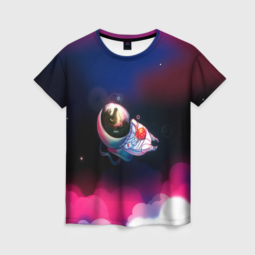 Женская футболка 3D Ёжик в космосе