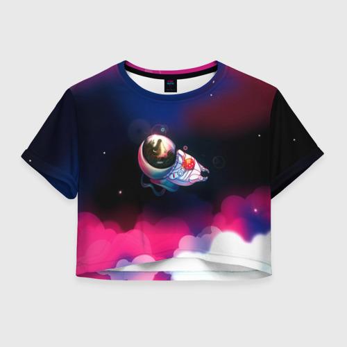 Женская футболка Crop-top 3D Ёжик в космосе