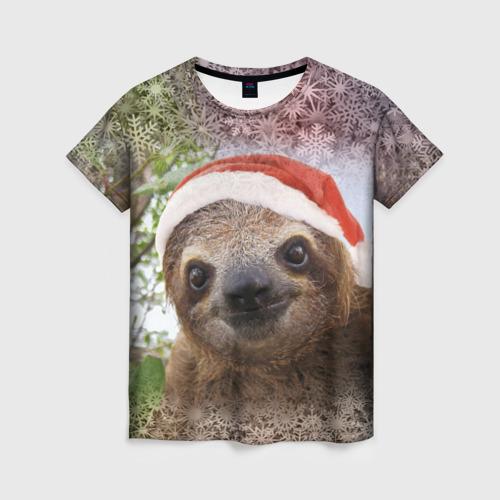 Женская футболка 3D Рождественский ленивец