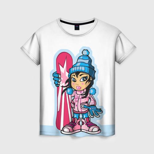 Женская футболка 3D Snowboard girl 3
