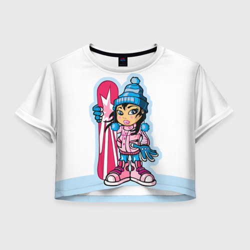 Женская футболка Crop-top 3D Snowboard girl 3