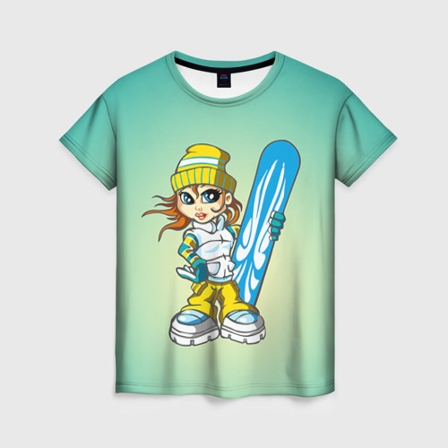 Женская футболка 3D Snowboard girl 1