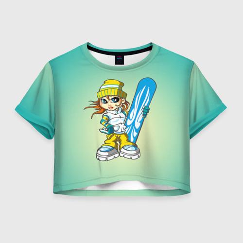 Женская футболка Crop-top 3D Snowboard girl 1