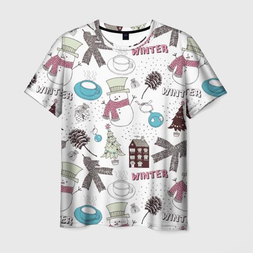Мужская футболка 3D Снеговики Новый год