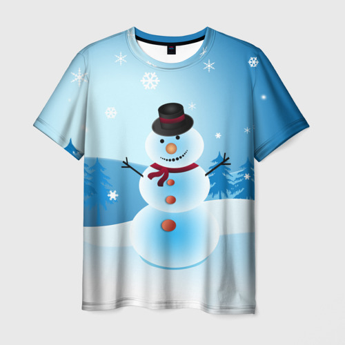 Мужская футболка 3D Снеговик