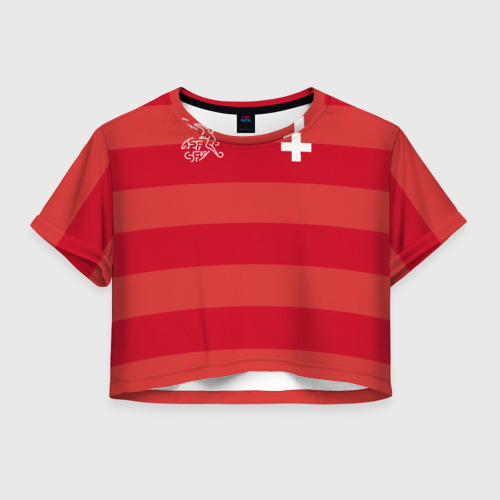 Женская футболка Crop-top 3D Сборная Швейцарии