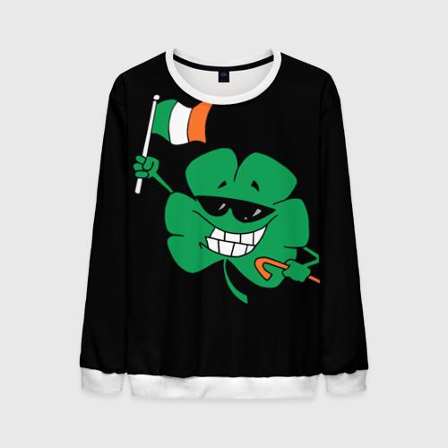 Мужской свитшот 3D Ирландия, клевер с флагом