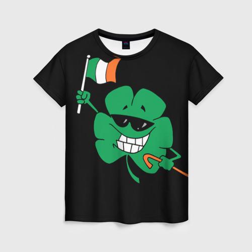 Женская футболка 3D Ирландия, клевер с флагом